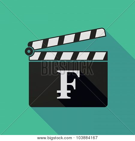 Long Shadow Clapper Board With A Swiss Franc Sign