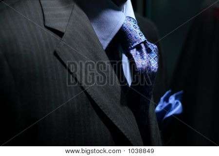 Striped Jacket With Blue Shirt, Tie & Handkerchief