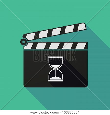 Long Shadow Clapper Board With A Sand Clock