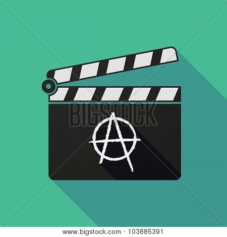 Long Shadow Clapper Board With An Anarchy Sign