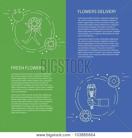 Two Flyers, Card With Running Man, Courier, Hand With A Bouquet Of Flowers. Vector Template