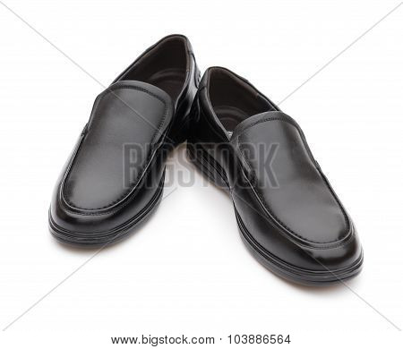 Pair Of Black Leather Shoe For Man On White Background