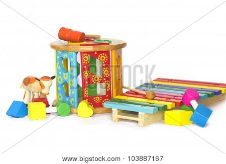 Colored wodden toys