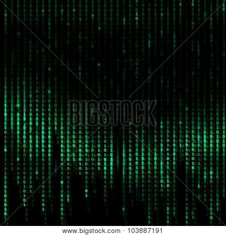 Computer's Binary Code - Green Digital Abstract background