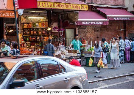 NEW YORK CITY, USA - SEPTEMBER, 2014: Chinatown in New York City