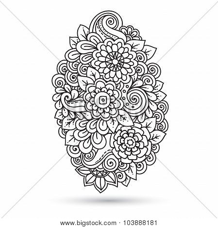 Ethnic floral zentangle, black, white background pattern.