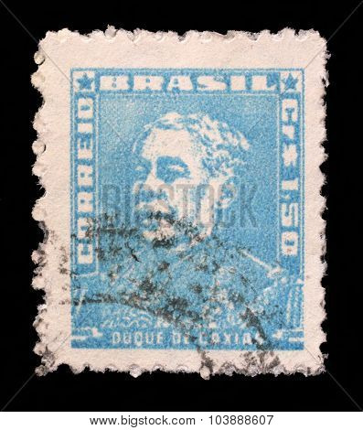BRAZIL - CIRCA 1954: A stamp printed in Brazil, shows portrait of Duke of Caxias, with the same inscription, from the series Portraits, circa 1954