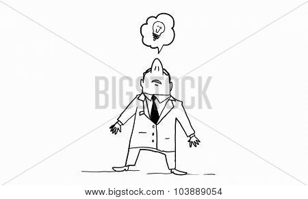 Caricature of funny businessman on white background