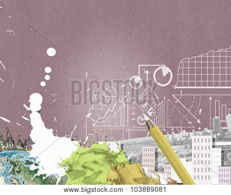 Composite collage with modern city landmarks and buildings. Elements of this image are furnished by NASA