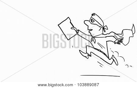 Caricature of funny running businessman on white background