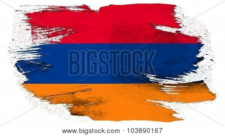Flag of Armenia, Armenian flag painted with brush on solid background, pint texture.