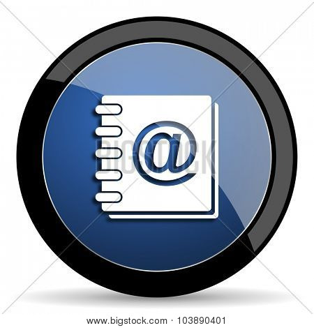 address book blue circle glossy web icon on white background, round button for internet and mobile app