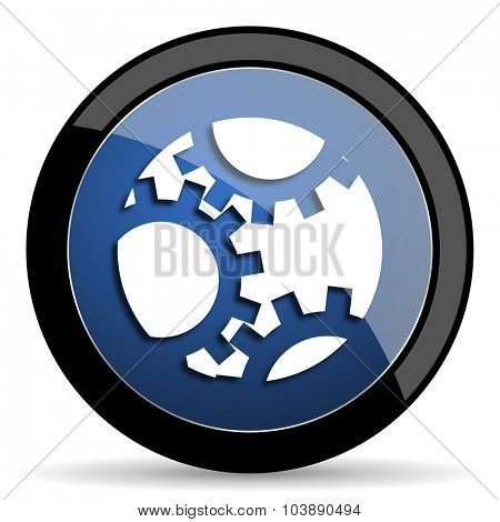 gear blue circle glossy web icon on white background, round button for internet and mobile app