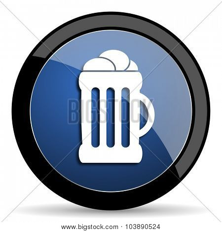 beer blue circle glossy web icon on white background, round button for internet and mobile app