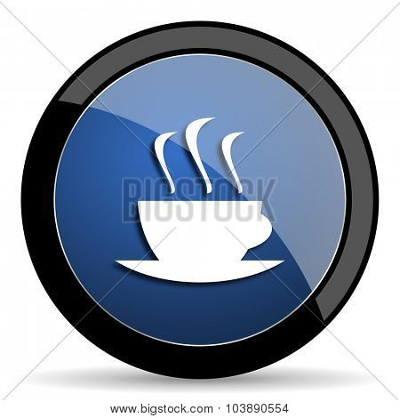 espresso blue circle glossy web icon on white background, round button for internet and mobile app
