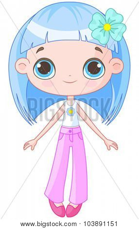 Illustration of cute blue hair girl