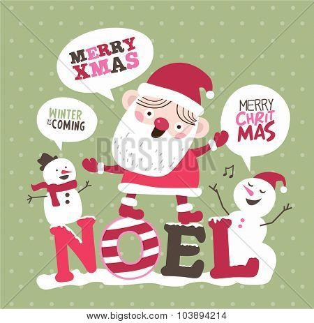 Christmas card. Santa Claus and Snowman.