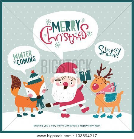 Christmas card. Santa Claus, fox & reindeer with season's greeting.