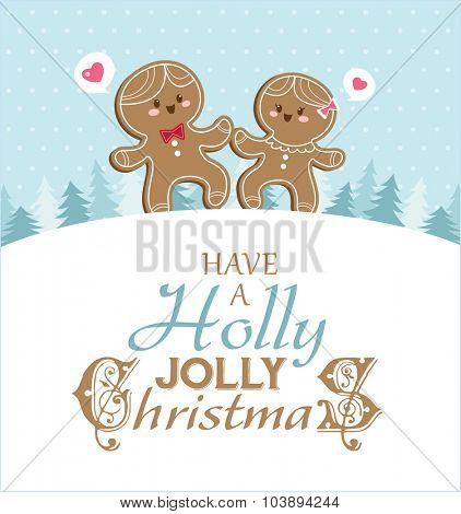 Christmas card with gingerbread man and girlfriend.