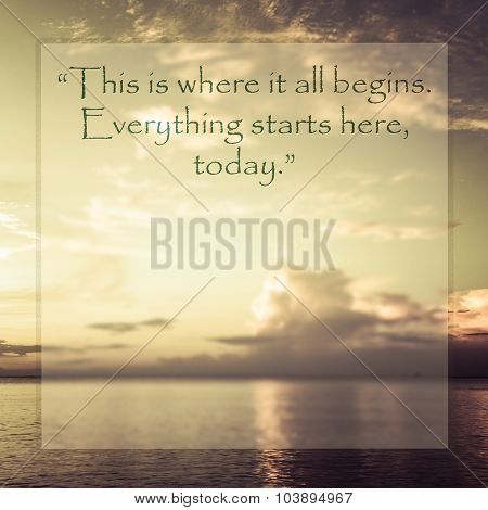 Inspirational Quote On Blurred Background