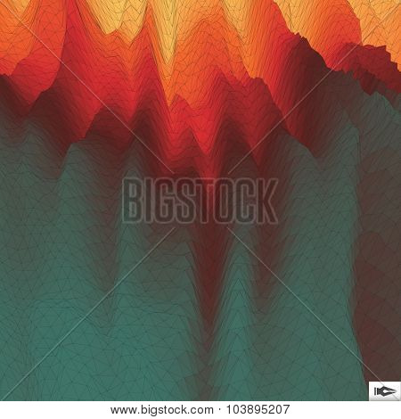Fire Vector Background. Mosaic. Abstract Mesh Illustration. Design Template.