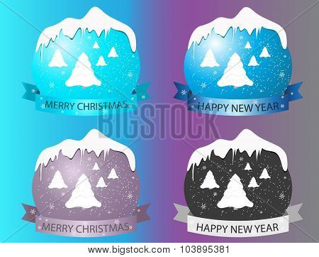 New Year Logo With Christmas Trees On Multi-colored Background.