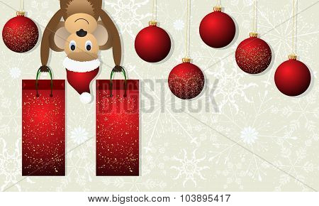 Christmas Background With Monkey And Red Christmas Balls.