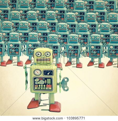a large group of retro robots