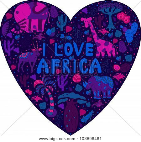 Cute Africa pattern in silhouette of heart with words