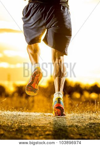 Young Man Strong Legs Off  Road Running At Amazing Summer Sunset In Sport And Healthy Lifestyle
