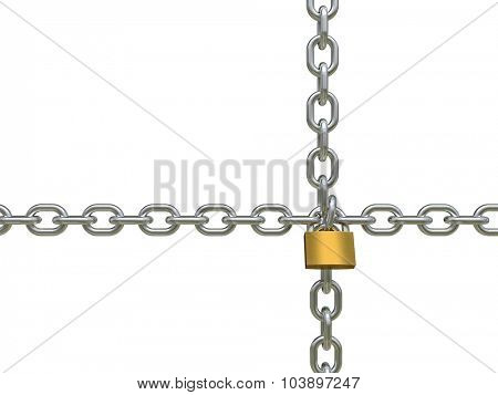 3d image of classic padlock and chains