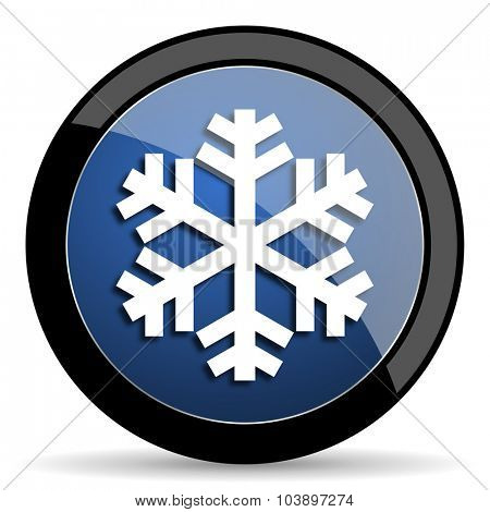 snow blue circle glossy web icon on white background, round button for internet and mobile app