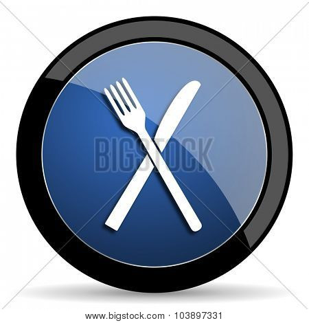 restaurant blue circle glossy web icon on white background, round button for internet and mobile app