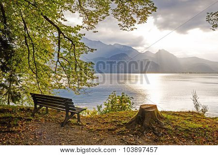 Idyllic Tranquil Place At The Lakeside Walchensee, Upper Bavaria