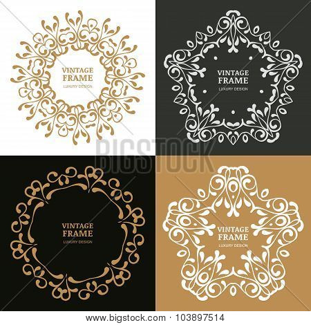 Set Of Vector Vintage Flourish Frames.