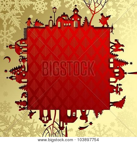 Gold Christmas and New Year's paper frame with silhouette of town and people on red background. Christmas and New-Year's greeting card