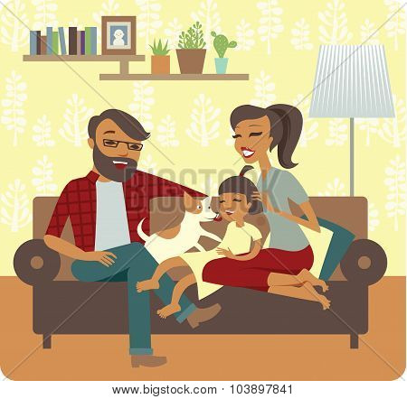 Young Family Playing With Baby Girl
