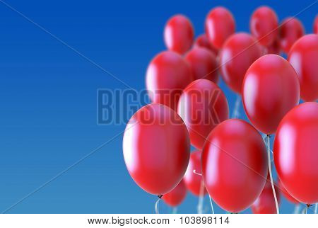 Balloons Flying In The Sky. 3D.
