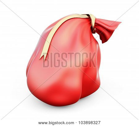 3D Illustration Red Christmas Bag With Gifts