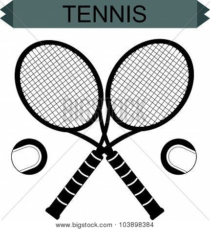 Big tennis rackets with tennis ball. Active sports. Vector illustration.