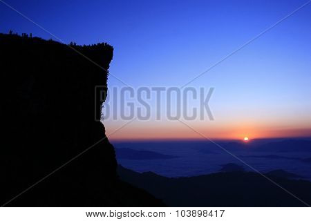 Phu Chi Fa Cliff Top At Sunrise, Thailand