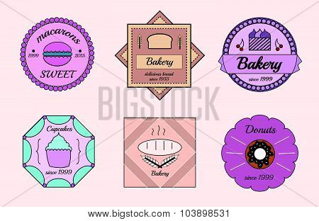 Set of vector bakery logos. Bread and sweet pastries, badges and design elements. Fresh baked goods.