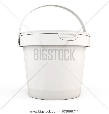 Plastic Bucket Isolated On White Background.3D.