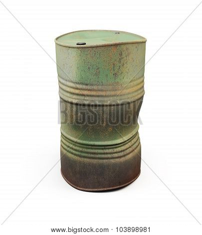 Rusty Metal Barrel. 3D.