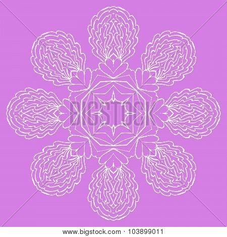 Ornamental round element pattern. Circle background with many details, looks like handmade lace.