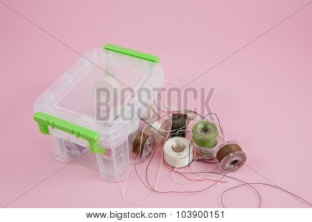 Thread spools in box container (3)