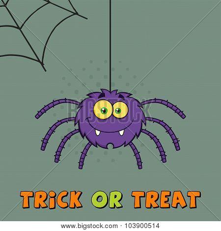 Smiling Purple Halloween Spider Cartoon Character