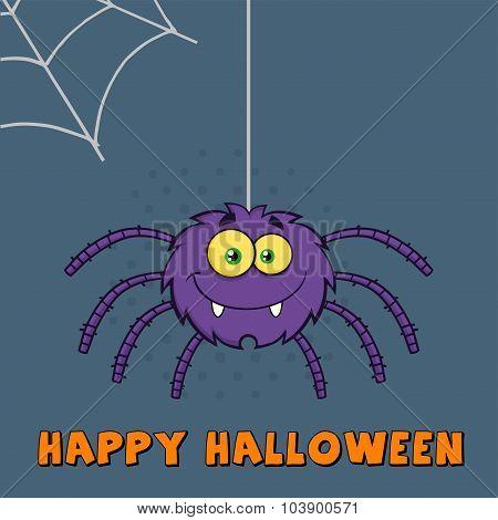 Funny Purple Halloween Spider Cartoon Character