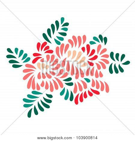 Pastel colored stylized flowers and leaves bouquet, vector