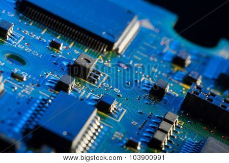 Circuit board with processor in blue light